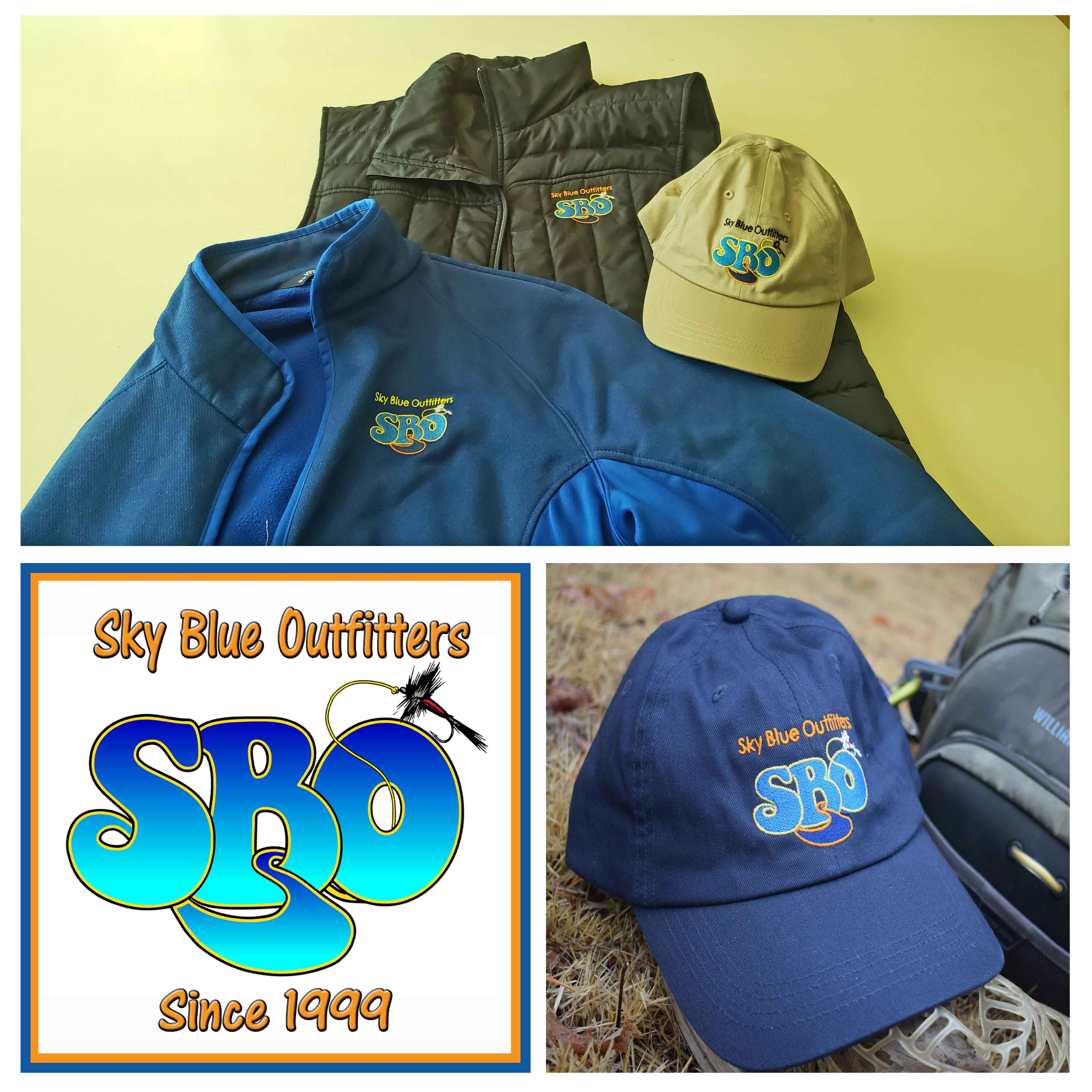 Sky Blue Stickers, Hats, Cloths, Backpacks and Duffel Bags Available